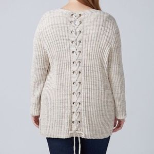 Lane Bryant | Oatmeal Lace-Up Back Knit Cardigan